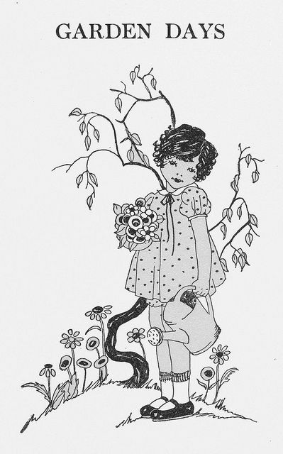 """""""A Child's Garden of Verses"""" by Robert Louis Stevenson and illustrated by Dorothy E. Russell. Introduction and notes by Blanche E. Weekes. Copyrighted in 1928 by The John C. Winston Co."""