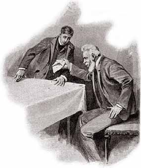 The famous scene from 'The Five Orange Pips' in which Sherlock Holmes' client's grandfather is sent five orange pips - pips that shock him and lead him to his death...