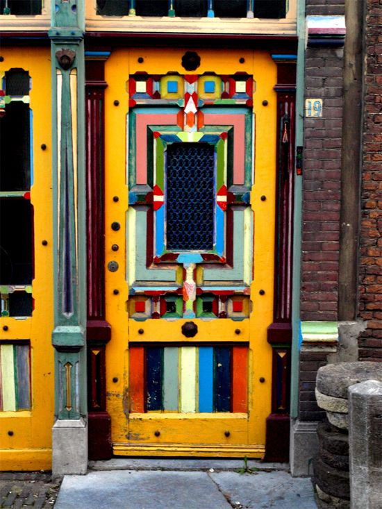 Painted doors and windows in Leiden - South Holland