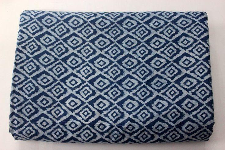 Indigo Blue Tie dyed Hand Block Printed 100% Cotton Soft Cotton Fabric #KhushiHandicraft