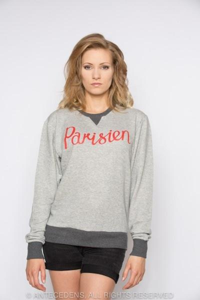 MAISON KITSUNÉ Je suis alle au College Kitsune Print - Grau/ Rot, Sweat Shirt @ antecedens.de