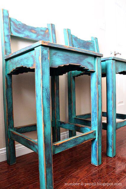 Vintage Turquoise Southwestern Bar Stools - No. 2 Pencil