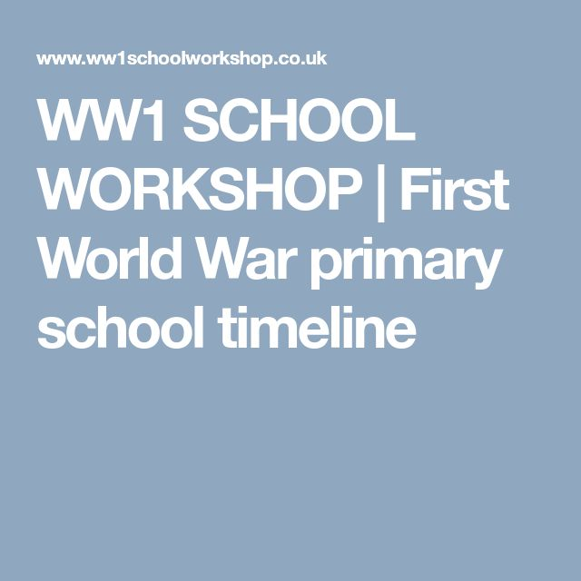WW1 SCHOOL WORKSHOP | First World War primary school timeline