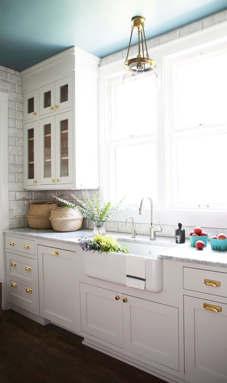 shaker cabinets gold hardware modern farmhouse painted ceiling on kitchen remodel gold hardware id=77920