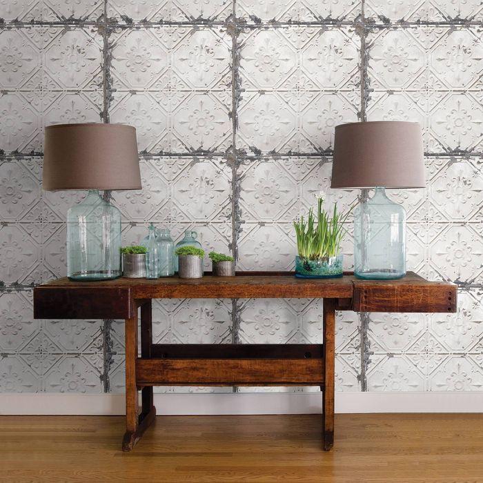 Nuwallpaper Vintage Tin Tile Peel Stick Wallpaper Gray Rustic Tin Ceilings Vintage Tin Tiles Rustic Tin Ceiling Tiles