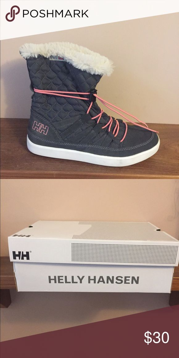 Helly Hansen winter boots size 9 Grey and pink Helly Hansen winter boots, worn 1 time size 9 Helly Hansen Shoes Winter & Rain Boots