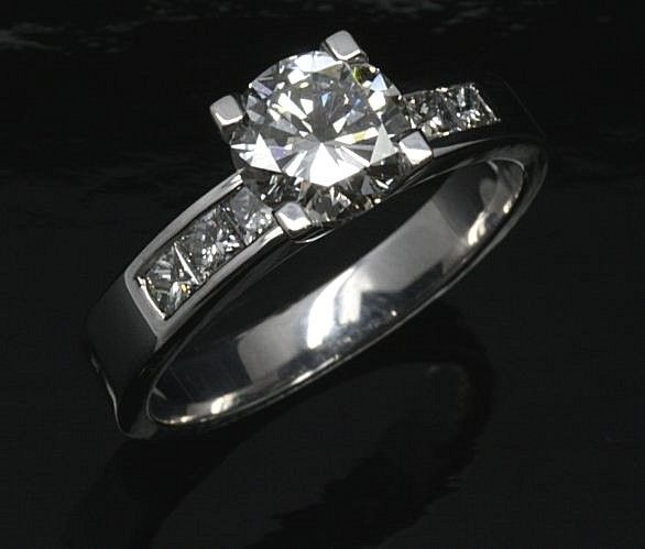 Handmade 18ct. White Gold Diamond Engagement ring.