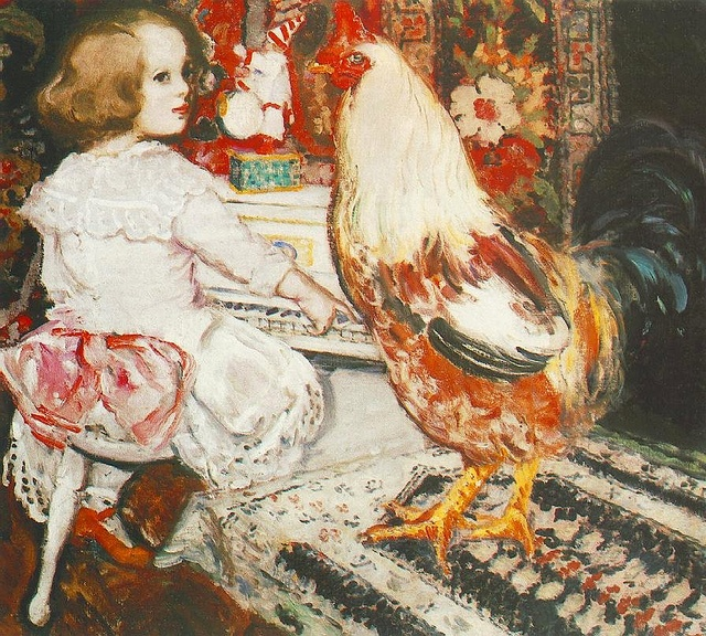 Csok, Istvan (1865-1961) - 1912 Zuzu with Cock (Hungarian National Gallery, Budapest) by RasMarley, via Flickr