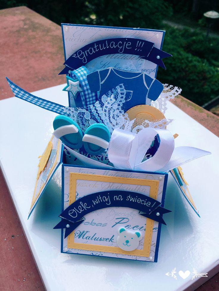 Karta pudełko kartka z okazji narodzin baby shower exploding box by KastelOfArt