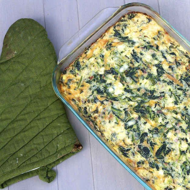 Cheddar, Bacon, and Spinach Egg Casserole