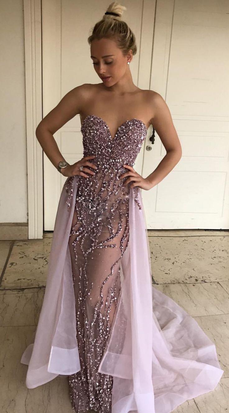Mermaid Sweetheart Floor-Length Detachable Train Grape Prom Dress ... 66d854698db3