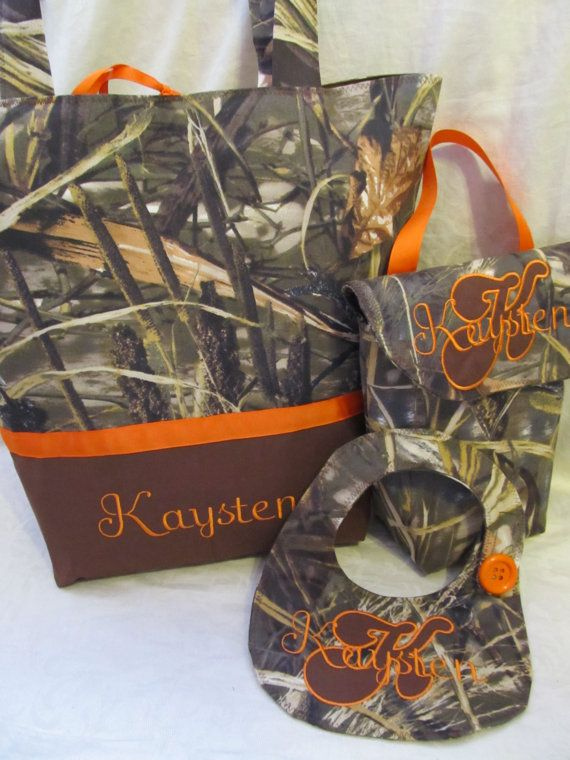 (Like the orange better) Handmade max 4hd camo diaper bag tote bag by creativesewing2, $79.99