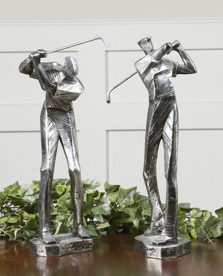 Uttermost Practice Shot Metallic Statues, Set Of 2 19675