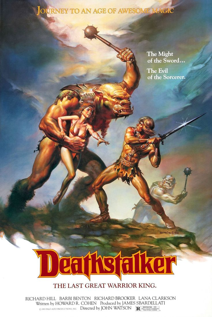 I've pinned this one to note the use of atmospheric perspective and desaturated colour on the figure to the right. This simultaneously draws the eye back to the central figures while also creating depth. Also note that the monster's body has less detail and sharpness as you move down his body.   (Deathstalker (1983)    #films #movies #posters #Deathstalker #fantasy #80s #1983)