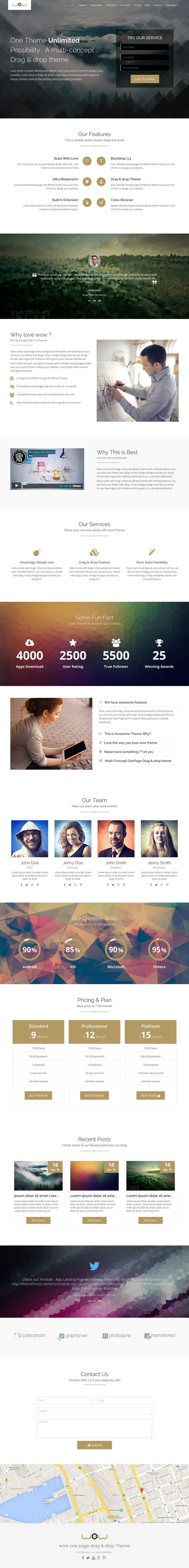 'Wow' is a multi-purpose One Page WordPress theme by XpeedStudio. The theme comes with 15 different demos showcasing their options for portfolios, landing pages, events, apps and even WooCommerce. This screenshot below features the header option I quite liked for a landing page that tries to capture user details at the very beginning in a form - a classic landing page.  The theme comes packed with a lot, the main being the popular Visual Composer Drag-n-Drop Page Builder.