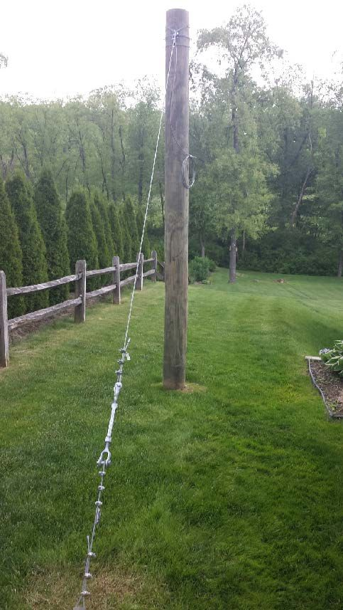Family Backyard Toys Zipline : wood zip line pole anchor guy wire cable ground support turnbuckle