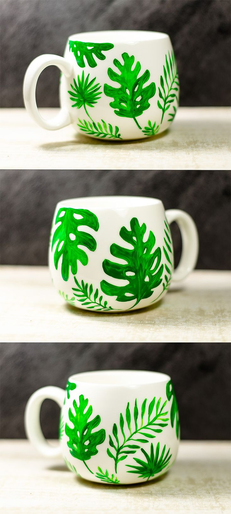 Summer Outdoors Tropical Mug, Palm Leaves Personalized Mug, Ceramic Coffee Cup, Hand Painted Tropical Dorm Decor