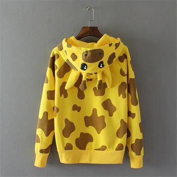 Animal Giraffe Hoodies Women Ear Hoodie Coat Jacket Cartoon Hooded Sweatshirt  2015 Female Loose Casual Fleece Sweatshirts 31854