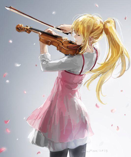 kaori tocando con el arco el violin