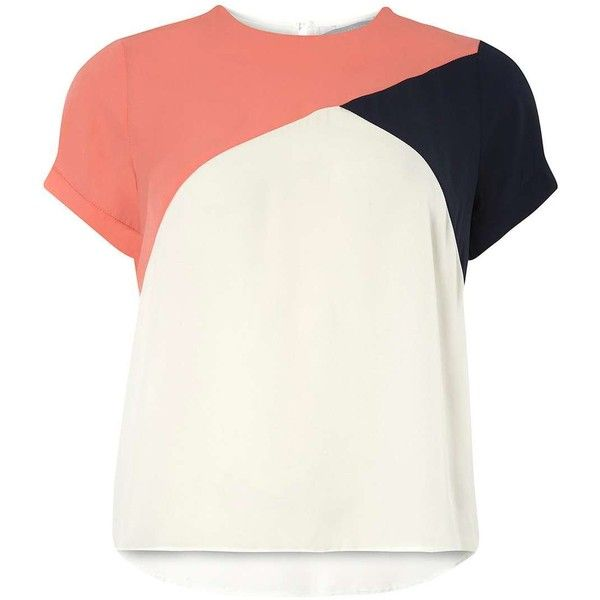 Dorothy Perkins Petite Colour Block Tee (£30) ❤ liked on Polyvore featuring tops, t-shirts, petite, white, white tee, color block tee, petite white tops, petite t shirts and colorblock t shirt