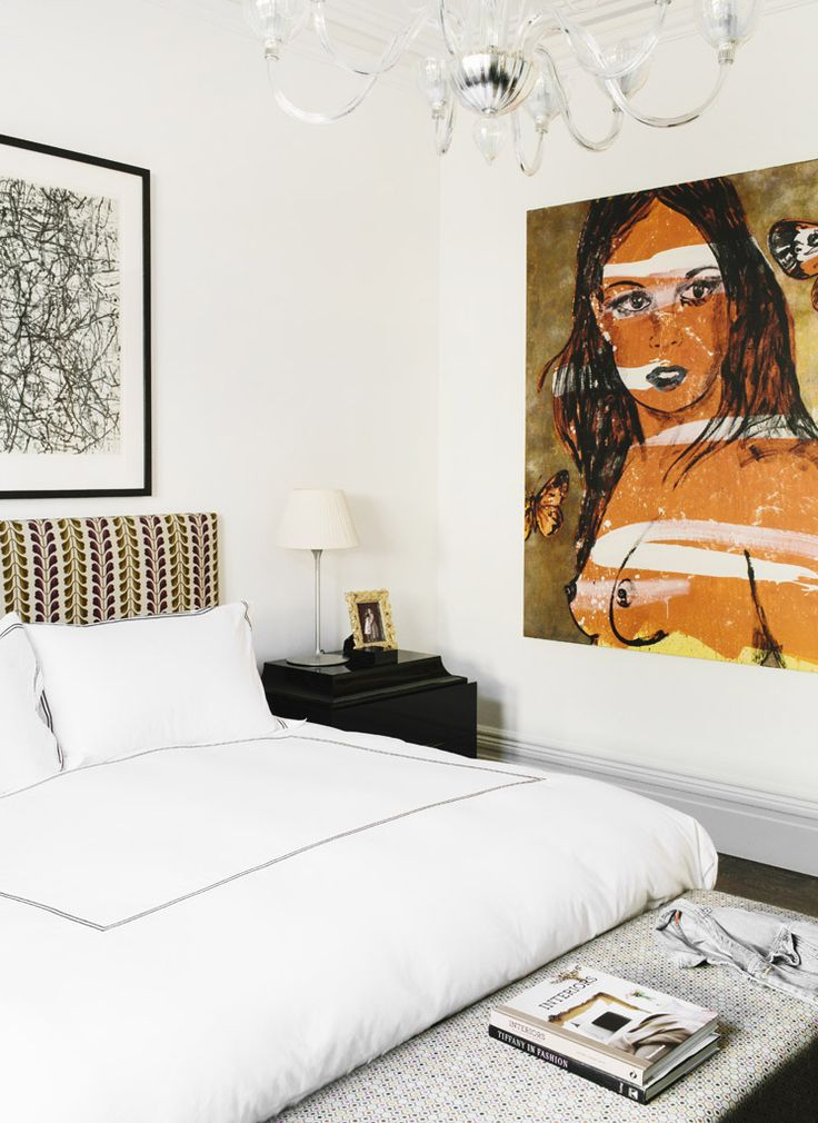 bordered white bedding, figurative painting, Murano clear glass chandelier // bedrooms