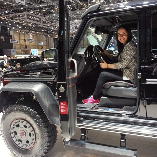 Brunette Girl in a big Car by Jon Olsson - Bought myself a new LITTLE Car :D the 6x6 AMG by Brabus - what a decent car!  #mgztrip #siag #car #cars #geneva #motorshow #gims #cars #carstagram #instacars #amg #brabus #genevamotorshow #tuning #itssoHyyperlic