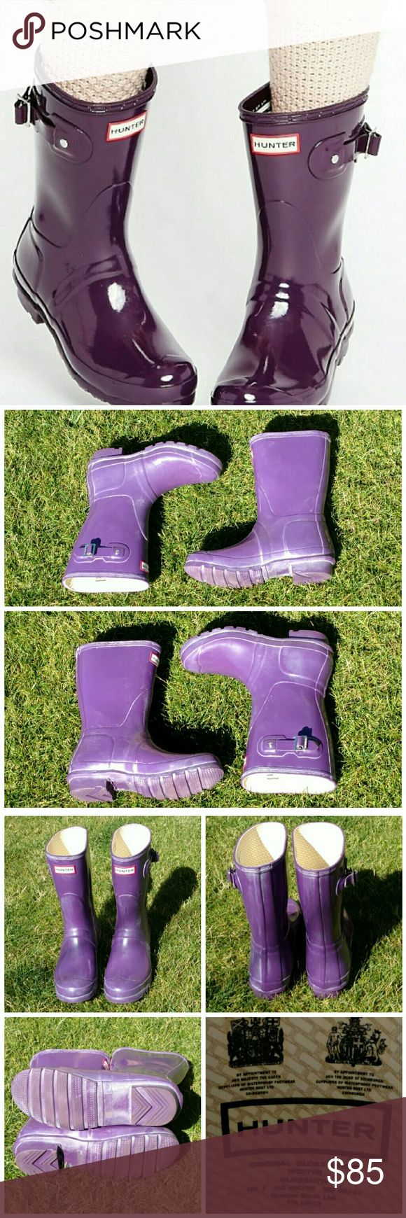 """Hunter Original Gloss Short Boot Purple Comfort and quality combine in a glossy, water-tight rubber boot finished with a traction-gripping sole.  Appx 1"""" heel, 10"""" boot shaft; 15"""" calf circumference.  Pull-on style.  In hot or humid weather, natural latex rubber releases a protective wax film; simply wipe it off with a damp cloth.  Boots have been pre loved and show some scuffs and natural blooming which can be removed or left on for character.  See pics.  *1st pic is an ad- not actual item…"""