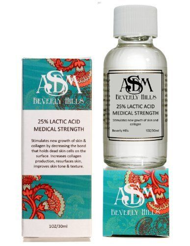 Lactic Acid Peel 25% 1oz by ASDM Beverly Hills. $9.50. Lactic Acid peels stimulate new growth of skin & collagen by decreasing the bond that holds dead skin cells on the surface. Lactic Acid peels increase collagen production, resurface skin, improve skin tone & texture.. Lactic acid eliminates germs, toxins and dead cells from skins surface. What it is: Lactic Acid peels are alpha hydroxy acids derived from milk. These peels are more gentle on the skin than Glycolic and Sa...