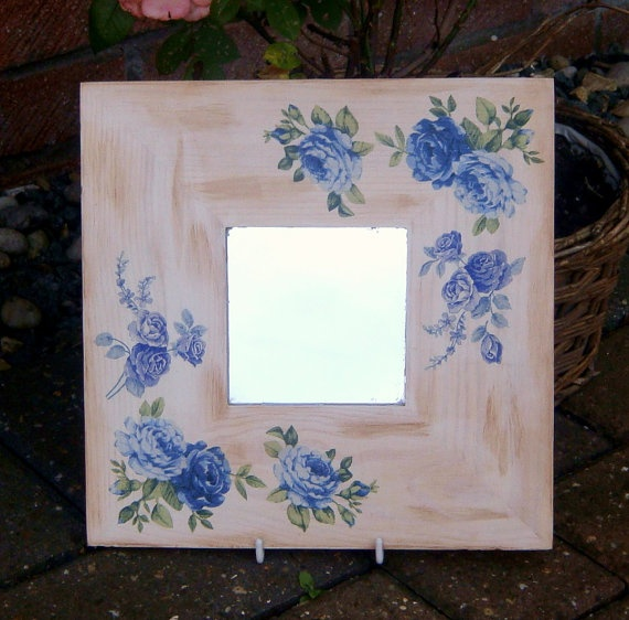 Shabby chic wall mirror blue roses design by witchcorner on Etsy,