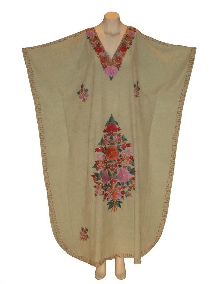Kaftan Caftan Dress from Kashmir with Ari Embroidery : Sea Green from Kaftan Connection