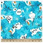 Frozen Olaf Winter Snowflakes Fleece Fabric, Blue