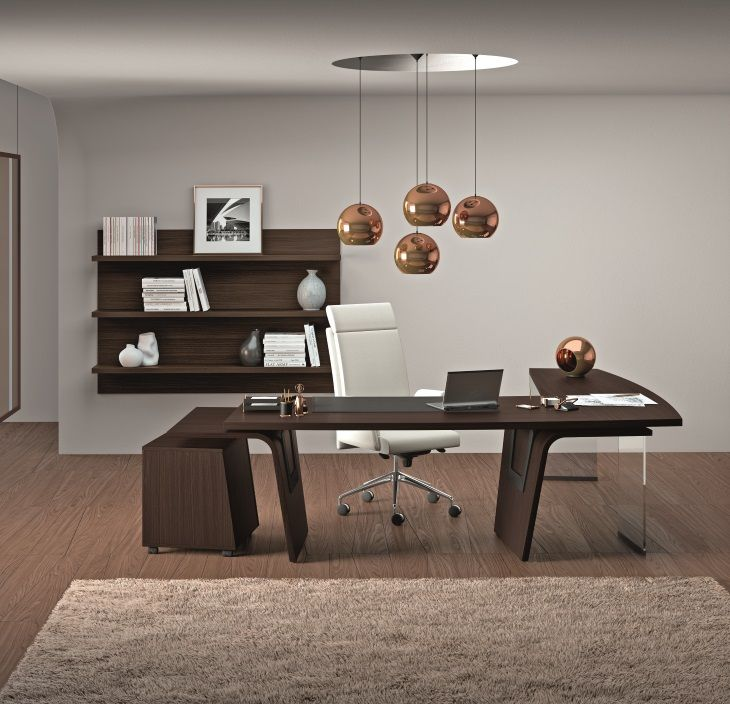 Collection design LARUS, bureau droit avec retour à gauche sur support en verre transparent, caisson mobile assorti, 100 % italien
