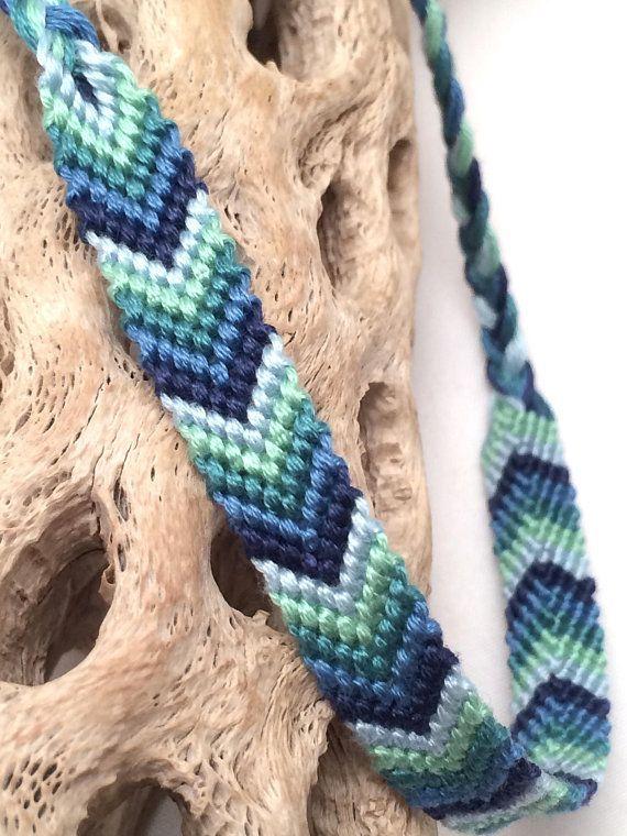 Chevron friendship bracelet - blue - green - arrowhead ...