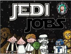 Inspire your young padawans to master their classroom responsibilities with the STAR WARS CLASSROOM JOB CHART.Responsibilities currently included in this set:** Air Lock Guard (Door Holder)** Astromech Droids (Technology Helpers)** Baron Administrator (Daily Schedule Creator)** Cantina Corps (Lunch Helper)** Chief Administrative Aide (Lights)** Jedi Apprentice (Back-Up Helper)** Jedi Archive Guards (Library Helpers)** Jedi Knight (Teacher Helper)** Pit Droid (Equipment Manager)** Prayer…