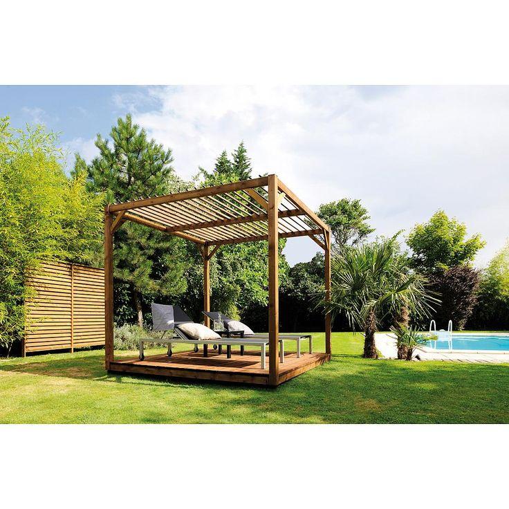 Pergola en bois pour le jardin. Un design moderne et cubique pour créer un petit espace réservé sur une grande pelouse, ou dans le coin d'une terrasse.