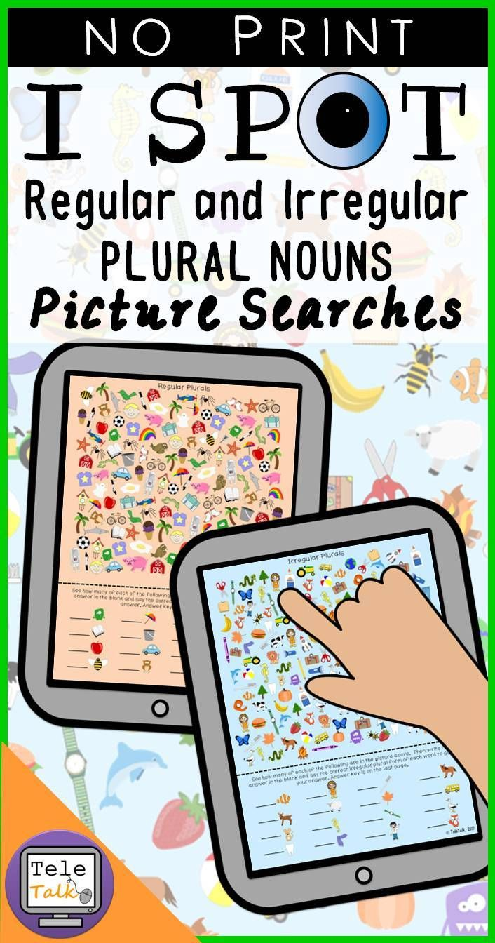 No-Print Regular and Irregular Plural Nouns Picture Searches for teletherapy or your iPad.  Students search the page for a list of nouns and then tell how many they found.