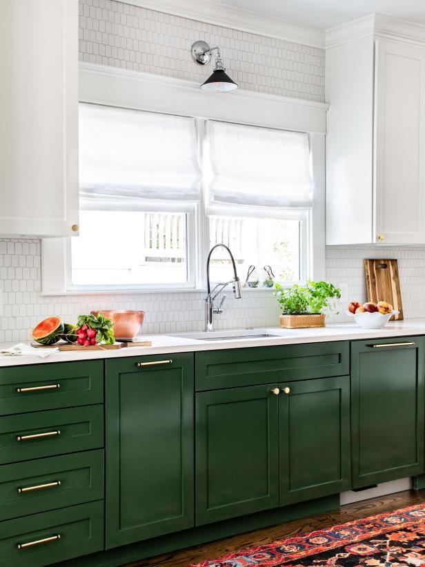 Colored lower cabinets with white uppers   Hgtv kitchens ...