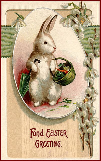 Easter Bunny Vintage Postcard --Bunny on the way home from market!