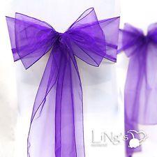 789 - Purple Chair Sashes Purple Organza Chair Sash - Each