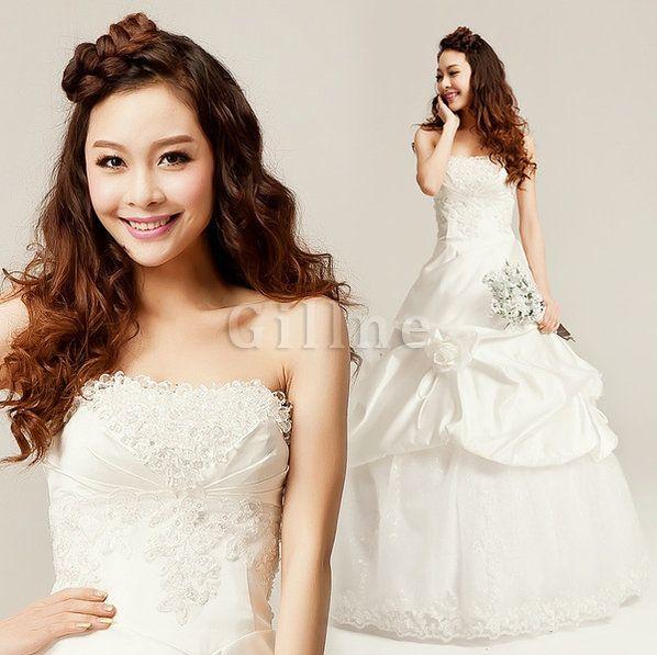 Robe de mariée naturel en plein air avec fleurs de mode de bal avec lacets