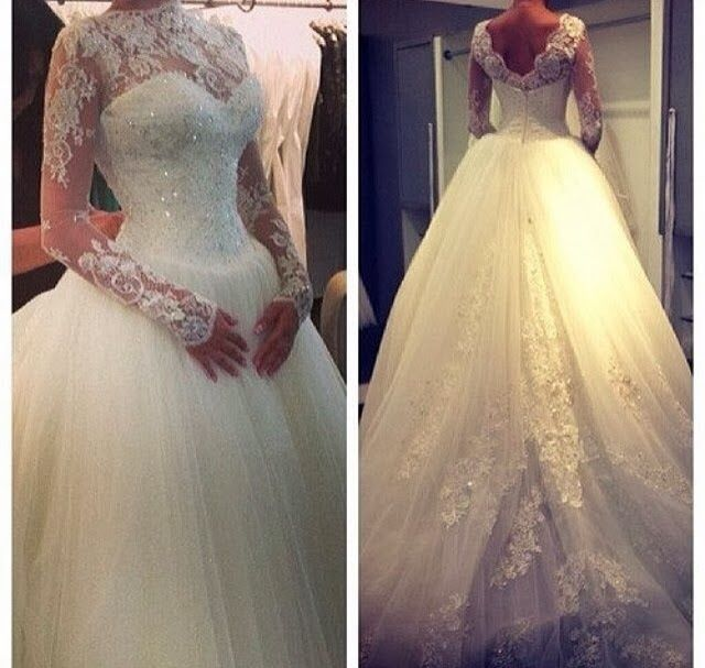 High Neck Long Sleeve Princess Wedding Dress Ball Gown Lace Cheap Bridal Dress