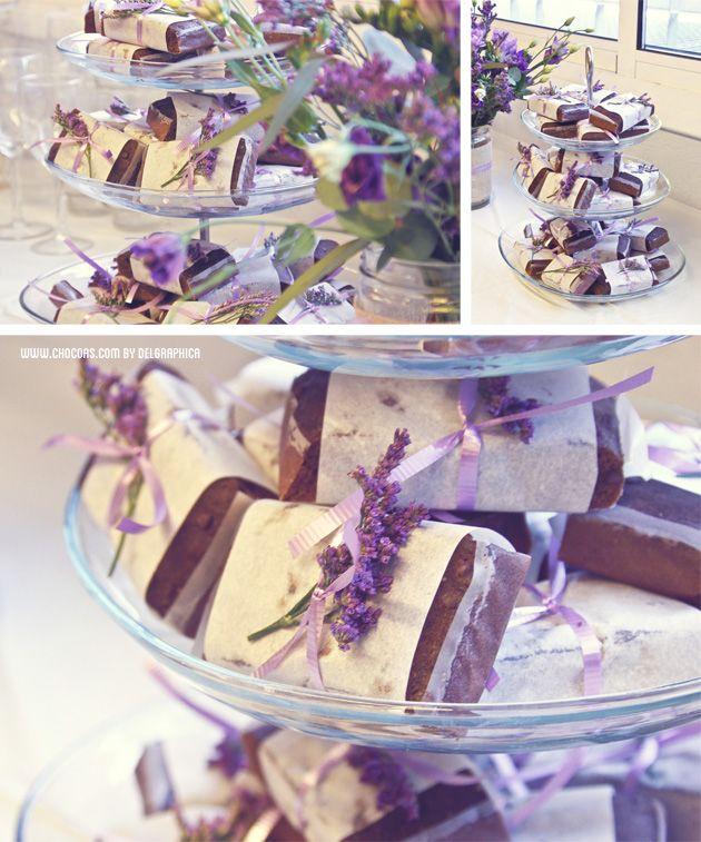 Paquetes brownie - Fiesta Parisien en colores lavanda de Chocoas by Delgraphica #postres #bodas #weddings #spain