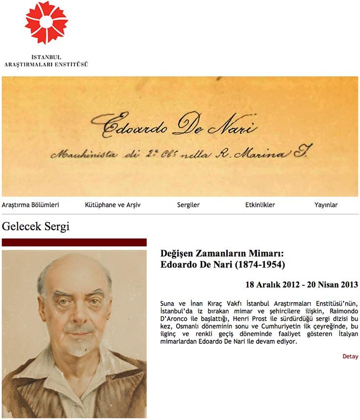 Mimar Büke Uras yönetiminde İstanbul Araştırmaları Enstitüsü'nde düzenlenen Edoardo de Nari (1874-1954) sergisi 20 Nisan a kadar gezilebilir. @Ist_Arast_Enst