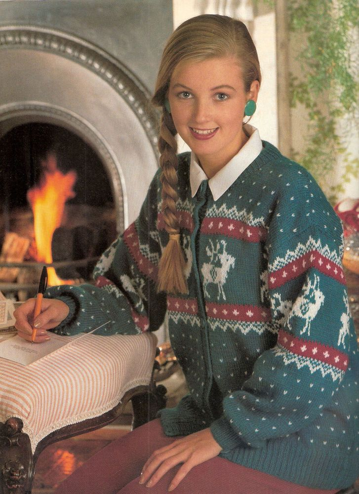 ORIGINAL KNITTING PATTERN - LADIES XMAS REINDEER CARDIGAN in Crafts, Knitting, Patterns | eBay