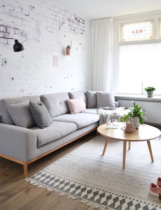 Exposed Brick Scandinavian Living Room                                                                                                                                                                                 More
