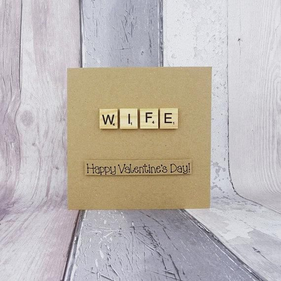 Wife Valentine's Day card Scrabble card for wife