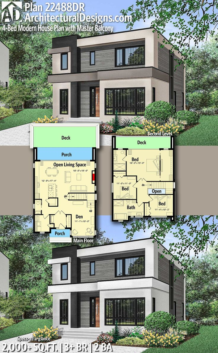 Plan 22488dr 4 Bed Modern House Plan With Master Balcony Modern House Plans House Plans Modern House Plan