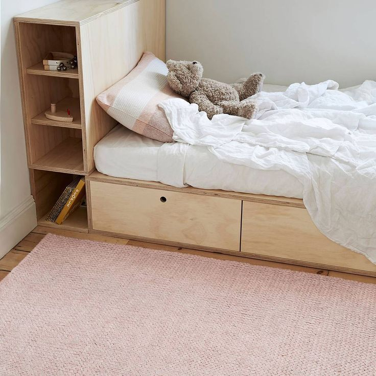 Gorgeous plywood bedframe setup