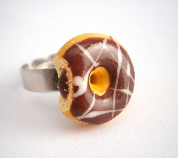 Miniature food jewelry/Polymer clay food/Donut ring/Polymer clay miniatures/Food jewerly/Doughnut jewelry