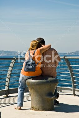 Adult Couple Embraced near the seaside Royalty Free Stock Photo